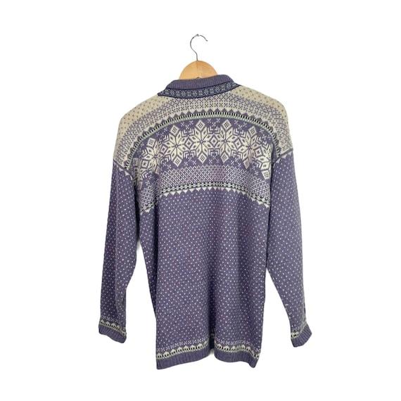 Vintage Lilac Purple Nordic Style Wool Cardigan S… - image 4