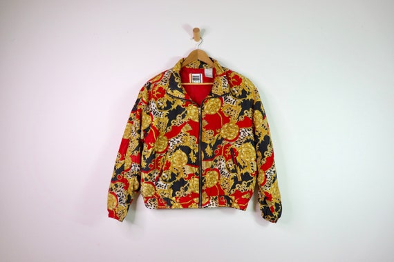Vintage 90's EVR Silk Red Chains Tassle Bomber Jac