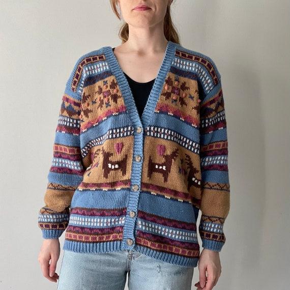 Vintage Jantzen Tribal Native Knitwear Wool Multicolor Large Stripes Sweatshirt Jantzen Usa Sportswear Women Sweater Size L