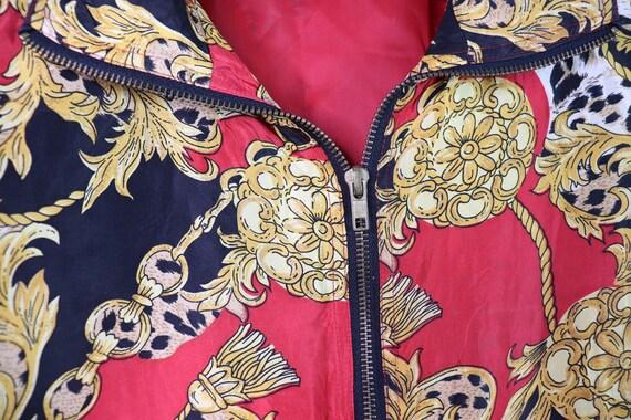 Vintage 90's EVR Silk Red Chains Tassle Bomber Ja… - image 3
