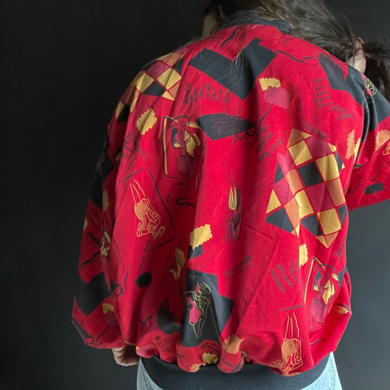 Vintage 90's Red Silk Bomber Jacket with Fashion … - image 5