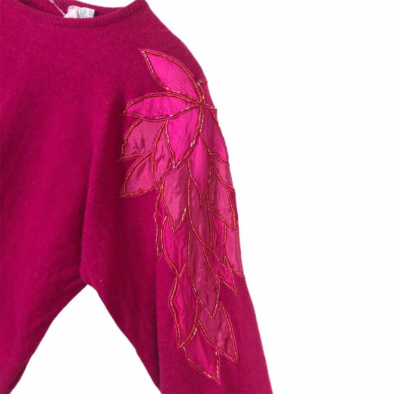 Vintage 80/'s Marisa Christina Pink Angora Sweater Beads Batwing Appliqu\u00e9 Size L