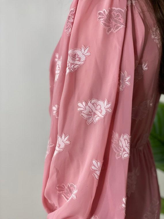 Vintage 80's Mauve Pink Balloon Sleeve Dress - image 2