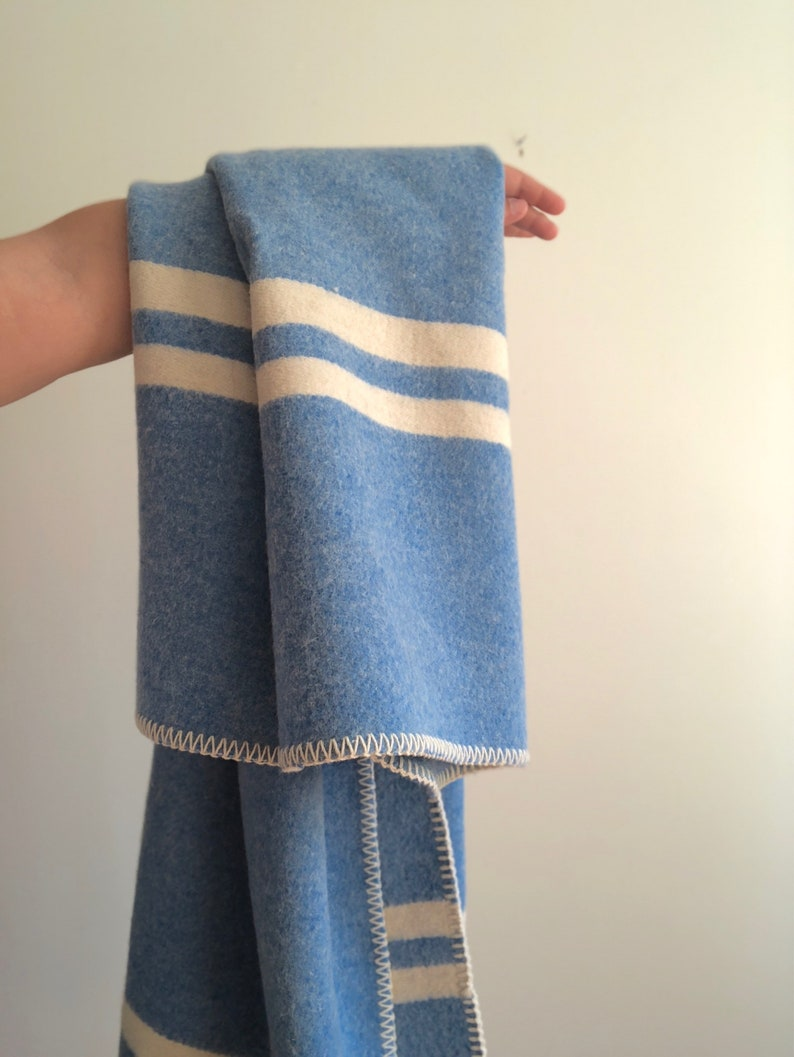 Vintage Blue And White Striped Throw Blanket
