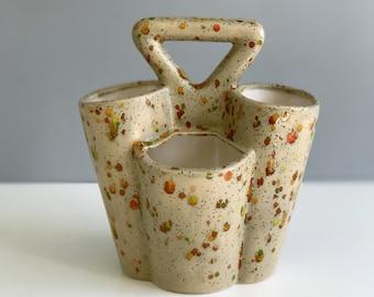 Mid Century Ceramic Caddy/ paint brush caddy / Studio pottery caddy organizer
