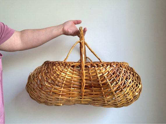 Large Woven Rattan Basket Large Woven Flower Basket Large Etsy