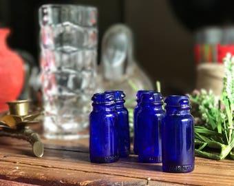 Set of 5 Colbalt Blue Apothecary Bottles / Blue Glass Apothecary Bottles / Blue Medicine Bottles