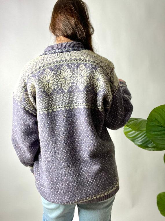 Vintage Lilac Purple Nordic Style Wool Cardigan S… - image 2