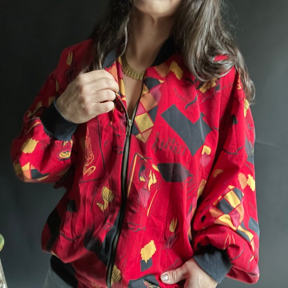 Vintage 90's Red Silk Bomber Jacket with Fashion … - image 1