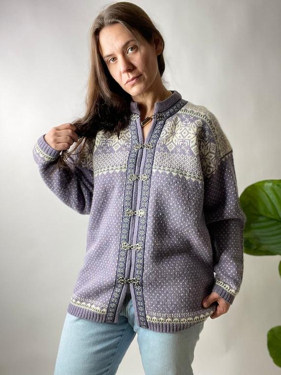 Vintage Lilac Purple Nordic Style Wool Cardigan S… - image 1
