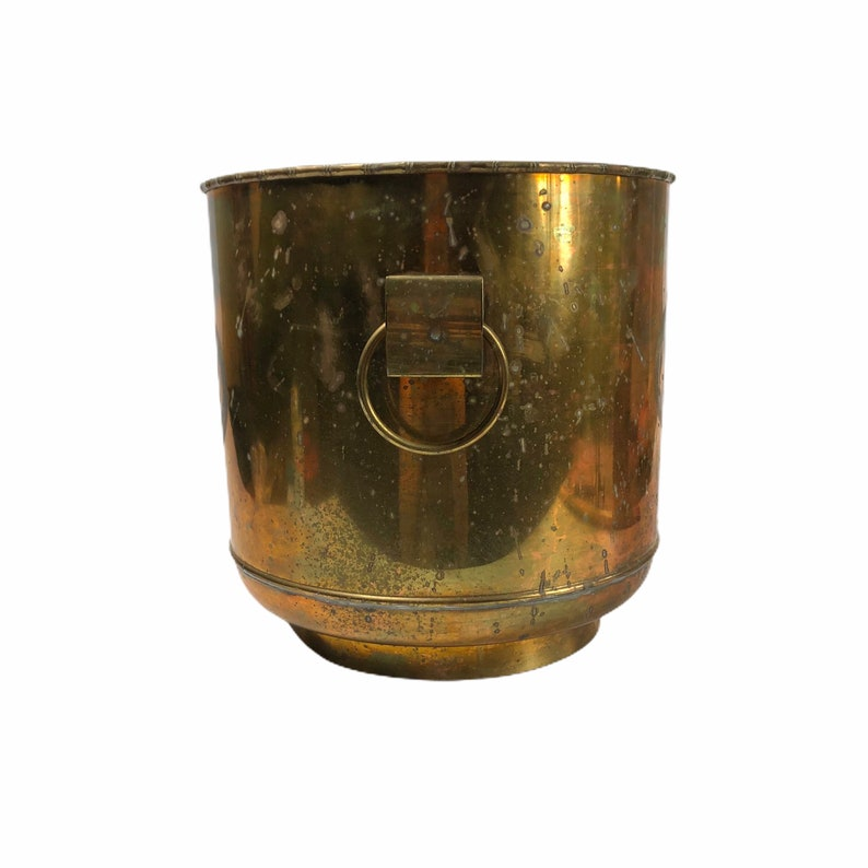 12 Vintage Large Solid Brass Chinoiserie Tree Planter Pot