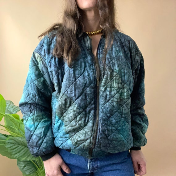 Vintage Blue Green Tie Dye Quilted Silk Bomber Jac