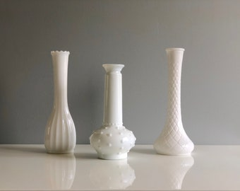 Milk Glass Vase Set, Milk Glass Vases, Set of Milk Glass Bud Vases, Hobnail Milk Glass, Milkglass Vase