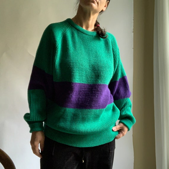 Vintage 80's Green and Purple Colorblock Oversized