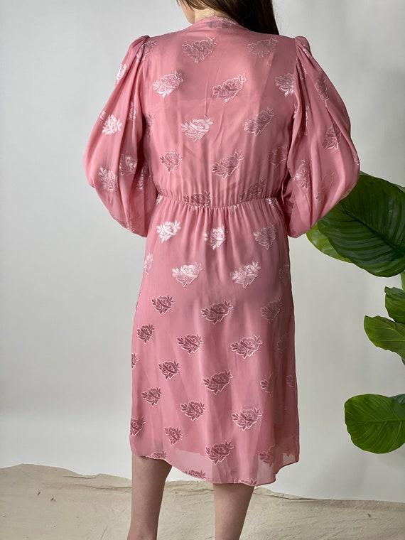 Vintage 80's Mauve Pink Balloon Sleeve Dress - image 6