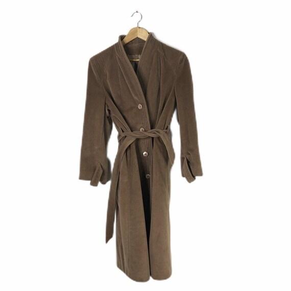 Vintage Del Costa Brown Camel Cashmere Long Belted