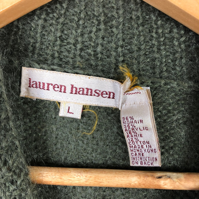 Size Large Vintage Lauren Hansen Green Black Mohair Blend Snowflake Sweater