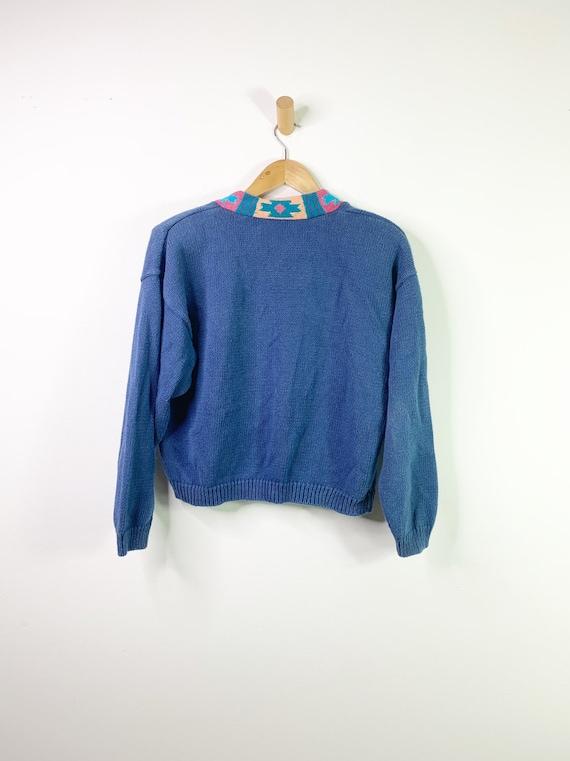 Vintage Blue 90's Southwestern Aztec Cardigan Cro… - image 2