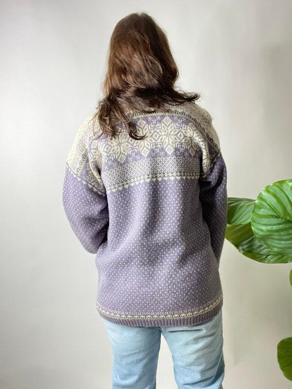 Vintage Lilac Purple Nordic Style Wool Cardigan S… - image 7