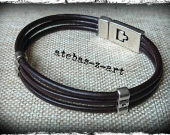 MULTISTRAND mens leather bracelet