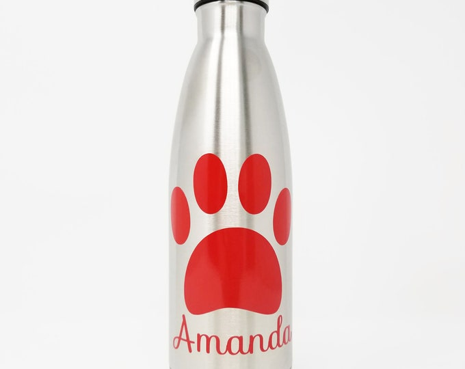 Stainless Steel Water Bottle - Veterinarian - Personalized 17oz Double Wall Vacuum Insulated - Paw Print & Name- Vet Tech -Dog -Cat -Animals