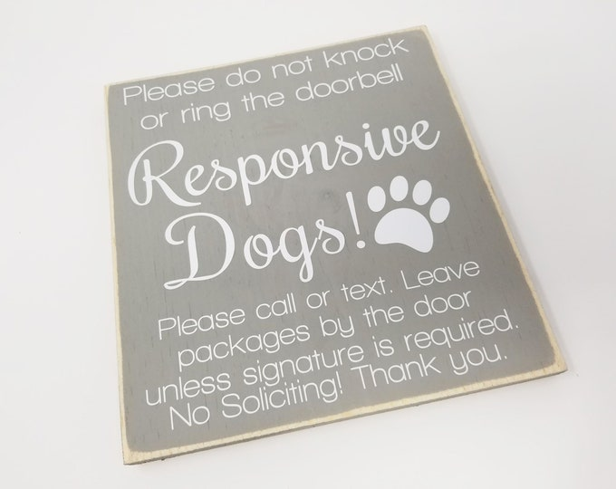 "12x12"" No Soliciting Responsive Dogs Wood Sign"