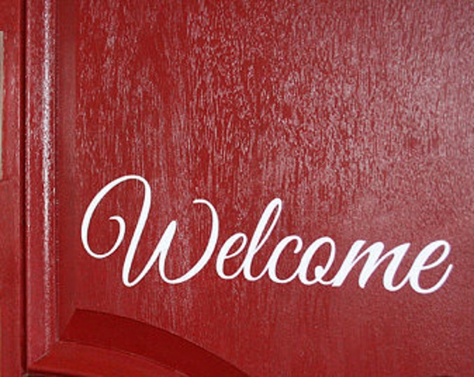 Welcome Vinyl Decal - Different Sizes And 23 Colors Available! - Great For Front Door! - Front Porch Decor - Welcome Home - Hello - Letters