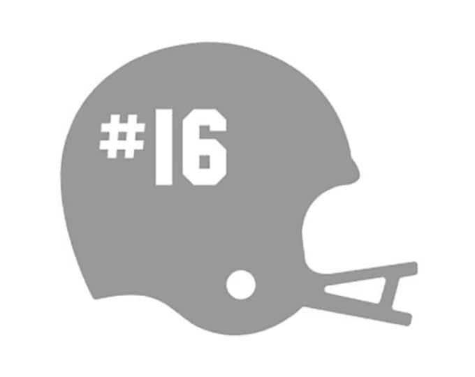 "FREE SHIPPING //  4.9x4"" Football Helmet Car Decal - Team Spirit Decal - Little League - Vinyl Decal - Team Mom - Car Decal"