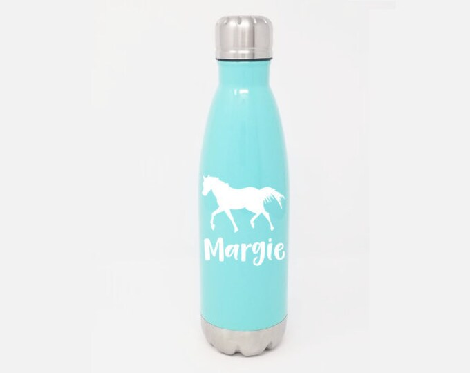 Stainless Steel Water Bottle - Horse & Name - Personalized - Custom - 17oz Double Wall Vacuum Insulated