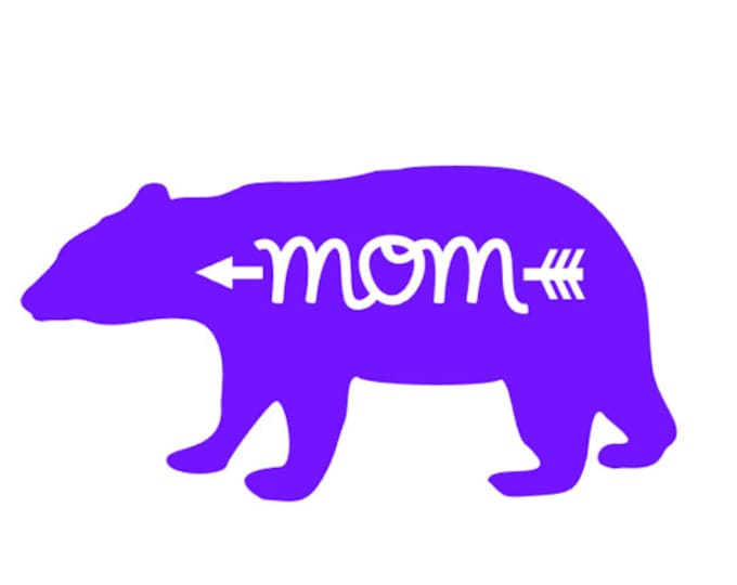 """FREE SHIPPING //  8x4.1"""" Mom- Arrow - Bear Vinyl Decal - Car Decal - Water Bottle Decal - Mommy - Woodsy - Wild - Hunting - Wood - Woodland"""