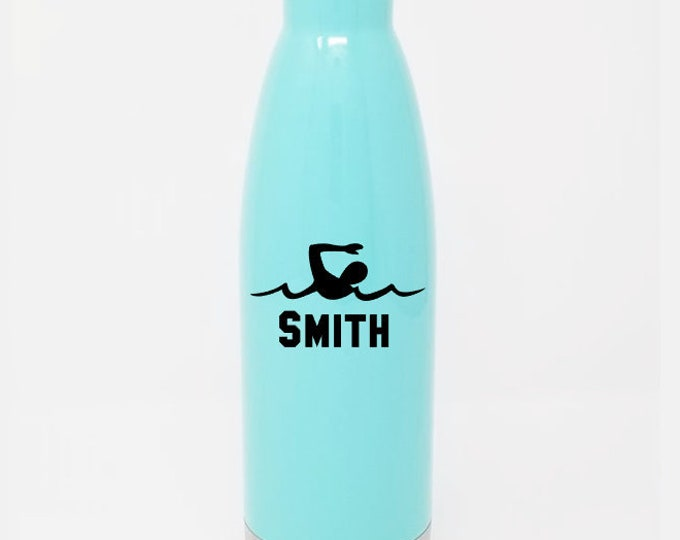 Stainless Steel Water Bottle - Swimmer & Name - Swim Team - Custom - Personalized 17oz Double Wall Vacuum Insulated