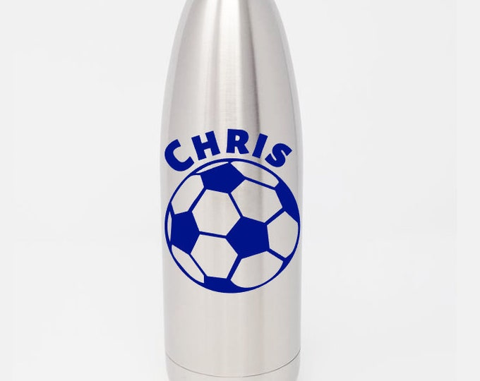 Custom - Personalized 17oz Double Wall Vacuum Insulated Stainless Steel Bottle - Soccer Ball & Name