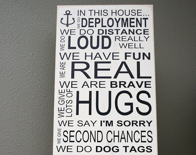 "12x24"" In This House - Navy Wood Sign - Service - Navy Family - Deployment - Anchor - Fun - Hugs - Brave - Dog Tags - Integrity - Dedication"
