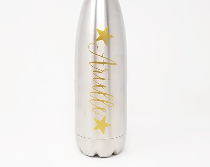 Stainless Steel Water Bottle - Name - Stars - Custom - Personalized 17oz Double Wall Vacuum Insulated-  Hydrate - Custom - Bottle