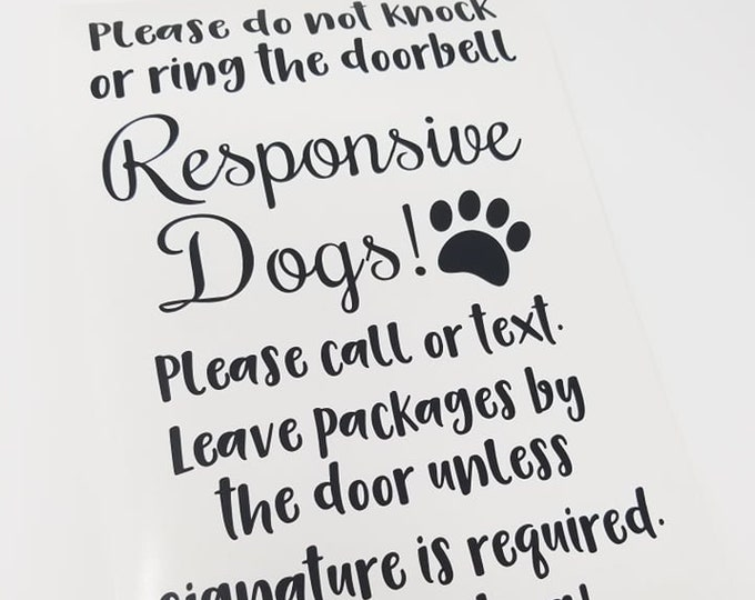 """FREE SHIPPING \\ 6x10.35"""" No Soliciting Responsive Dogs Vinyl Decal - Perfect for DIY Project - Dog Home - Dog - Do Not Ring Bell - Stickers"""