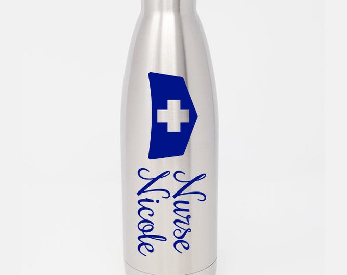 Stainless Steel Water Bottle - Nurse's Hat - Nurse- Custom - Personalized 17oz Double Wall Vacuum Insulated -  Hydrate