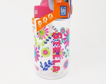 Personalized .4L Kid's Flower CamelBak® Bottle - Water Bottle - Hydrate, Custom, Bite Valve, Toddler, Flowers, Daisy, Daisies,  Bloom, Sweet