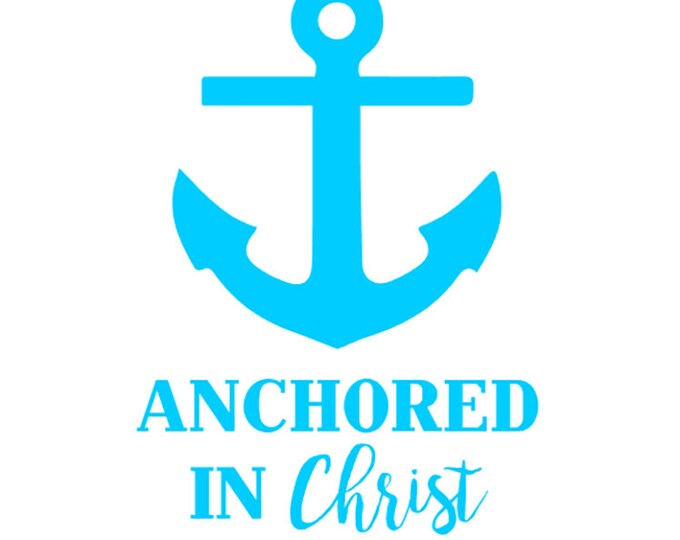 "FREE SHIPPING //  3.6x5"" Anchored In Christ Vinyl Decal - Custom - Laptop Decal  - God - Faith - Jesus - Church - Christ - Anchor"