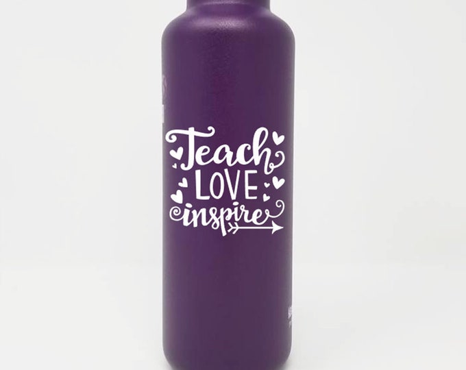 Personalized, Authentic 27oz Klean Kanteen® Stainless Steel Bottle,Sport Cap,Teach, Love, Inspire, Name, Reusable, Water Bottle