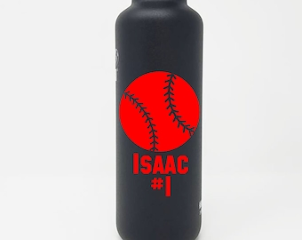 Personalized, Authentic 27oz Authentic Klean Kanteen® Stainless Steel Bottle, Sport Cap, Name, Baseball, Reusable, Water Bottle, Team