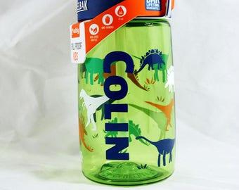Personalized .4L Kid's Dinorama CamelBak® Bottle - Water Bottle - Hydrate, Custom, Bite Valve, Toddler, Dinosaurs, T Rex, Triceratops, Dino