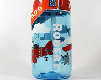 Personalized .4L Kid's Airplane Bandits CamelBak® Bottle - Water Bottle, Hydrate, Bite Valve, Student Toddler, Airplane, Name Back To School