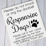 No Soliciting Responsive Dogs Wood Sign - Do Not Disturb, Do Not Knock, Do Not Ring The Doorbell, Leave Package, No Sales, No Solicit