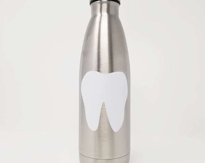 Stainless Steel Water Bottle - Tooth & Name - Dentist - Custom - Personalized 17oz Double Wall Vacuum Insulated -