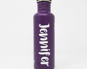 Personalized, Authentic 27oz Authentic Klean Kanteen® Stainless Steel Bottle, Sport Cap, Name, Camica Font, Reusable, Water Bottle, First