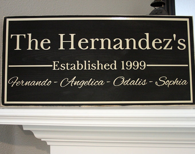 "24x12"" Family Established Date Wood Sign - Great For Wedding & Housewarming Presents!"