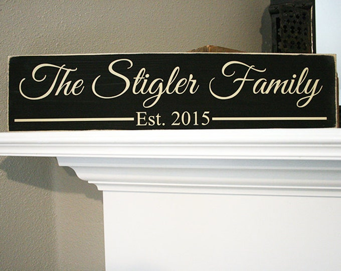 "24x6"" Family Established Date Wood Sign - Great For Wedding & Housewarming Presents!"