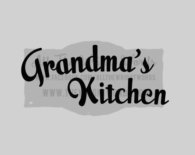 """FREE SHIPPING //  10x4.1"""" Grandma's Kitchen Vinyl Decal - Pressure Cooker Decal, IP, Decal, Cooking, Home, Kitchen, Stickers, Insta Pot"""