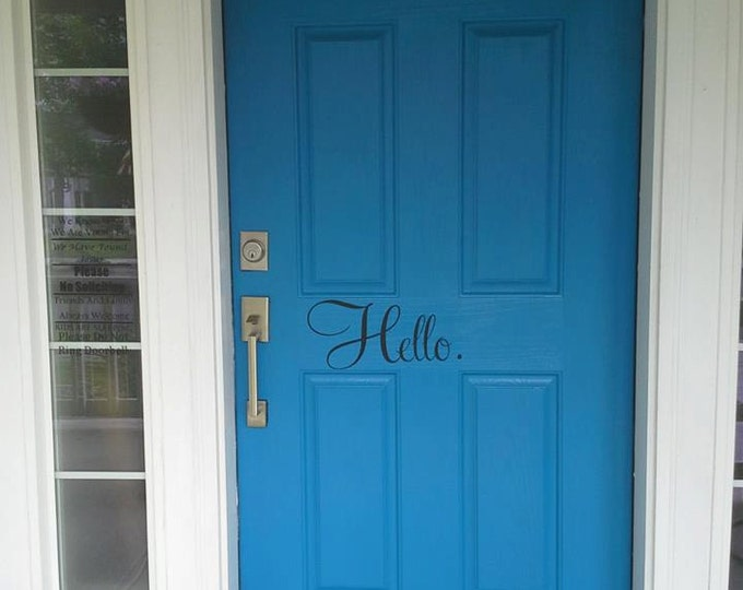 """FREE SHIPPING //  7""""x4"""" Hello & Goodbye Vinyl Lettering - Great For Front Doors! - Welcome - Home - Welcome Home - Vinyl Decal - Home Decor"""