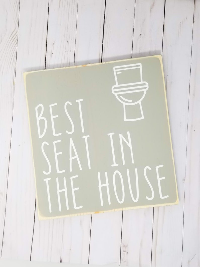 Best Seat In The House Wood Sign  Funny Bathroom Home image 0